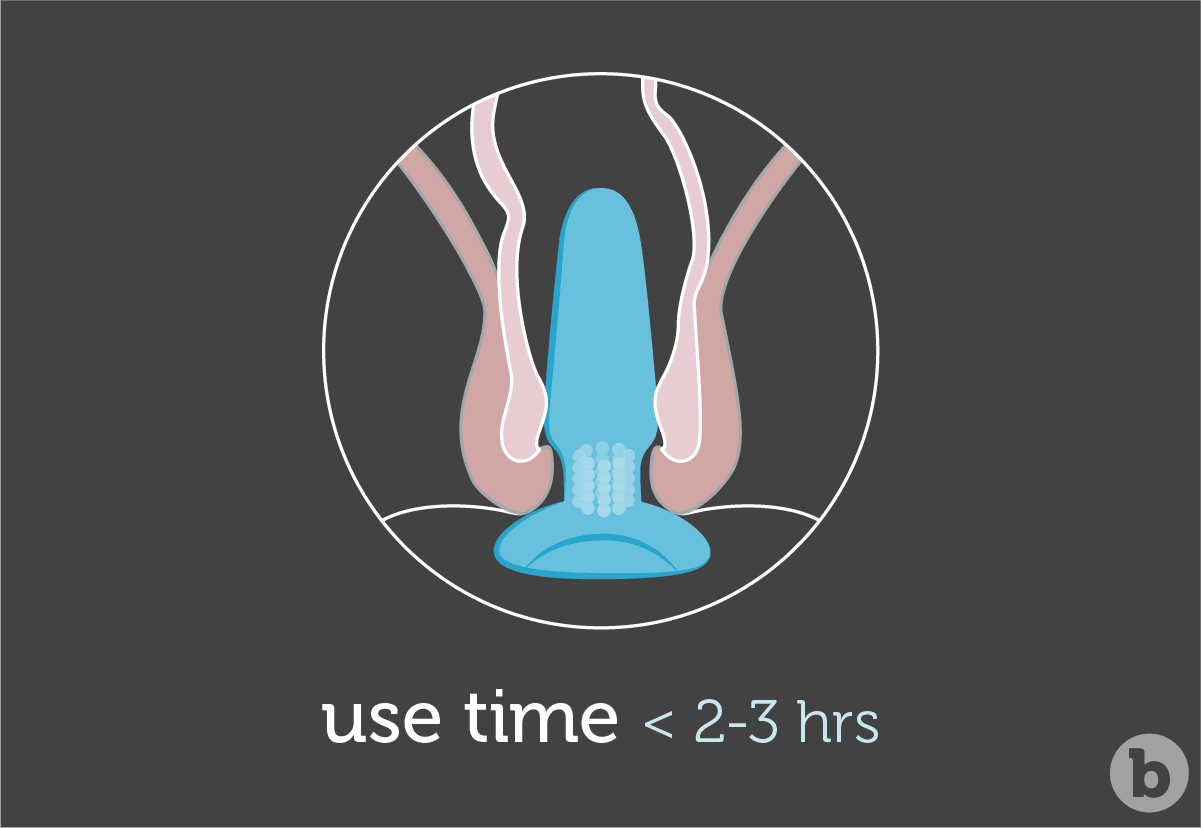 Butt plugs are not recommended to be worn for longer than 2 or 3 hours at a time.