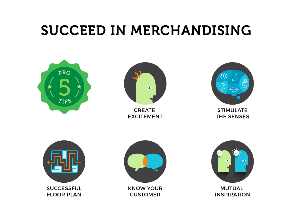 Stimulate and create excitement for potential customers and you are guaranteed to succeed in merchandising