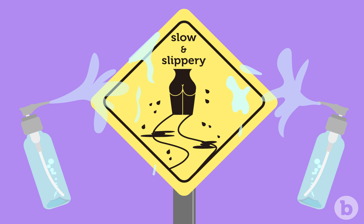 "A warning size with the text ""slow & slippery"" - they are the keywords to remember in your anal training"
