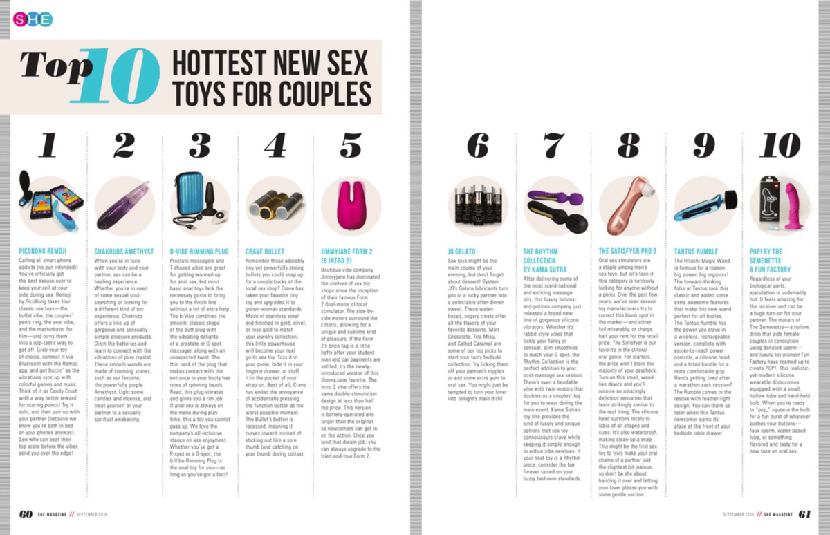 Leading sexual wellness guide SHE Mag names the b-Vibe Rimming Plug as one of the hottest new sex toys for couples indulging in anal play