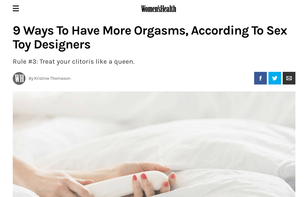 Learn how to have more orgasms from b-Vibe's founder Alicia Sinclair and other female sex toy designers in Women's Health article.